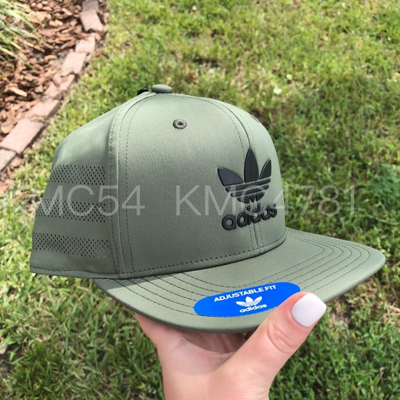 aa65804c7c364 Army green adidas originals trucker hat cap
